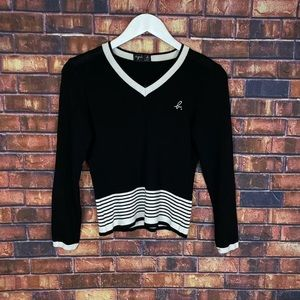 Agnis B Womens Black Striped V-Neck Pullover